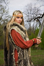 Viking girl warrior Royalty Free Stock Photography