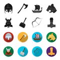 Viking in helmet with horns, mace, bow with arrow, treasure. Vikings set collection icons in black,flet style vector Royalty Free Stock Photo