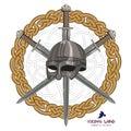 Viking helmet with three crossed swords on background Scandinavian pattern