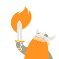 Viking holding sword cartoon character illustration Stock Images