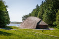 A viking longhouse on the coast of Norway Royalty Free Stock Photo