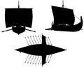 Viking longship silhouettes with oars silhouette illustrations of a under sail shields hung along the sides and extended Stock Image