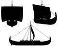 Viking longship silhouettes silhouette illustrations of a under sail with shields hung along the sides Royalty Free Stock Photos
