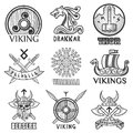 Viking scandinavian ancient warriors ship, arms shields and helmet symbols icons set Royalty Free Stock Photo