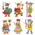 Viking set of cartoon eps file no gradients no effects no mesh no transparencies all in separate group for easy editing Stock Image