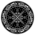 Viking shield decorated with a Scandinavian pattern of dragons and Aegishjalmur, Helm of awe helm of terror Icelandic Royalty Free Stock Photo