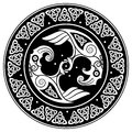 Viking shield, decorated with a Scandinavian pattern and Ravens of God Odin. Huginn and Muninn