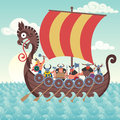 Viking ship cartoon sailing Stock Photos