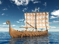 Viking ship computer generated d illustration with a Stock Image