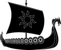 Viking ship stencil second variant vector illustration Stock Photos
