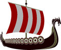 Viking ship stencil vector illustration Stock Photo