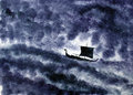 Viking ship and the storm
