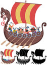 Viking ship on white cartoon in versions no transparency and gradients used Royalty Free Stock Photography