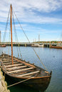Viking ships in the fjiord of Roskilde Royalty Free Stock Photo