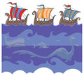 Viking ships and sea monsters seamless cartoon background with creatures Royalty Free Stock Images