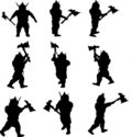 Viking silhouettes Stock Photo