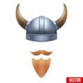 Viking symbol with horned helmet and beard