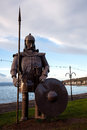 Viking warrior effigy at largs scotland metal seafront Royalty Free Stock Image