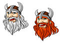 Viking warrior mascot head in cartoon style for sport or tattoo design Royalty Free Stock Images