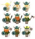 stock image of  Vikings costumes for little kids learning scandinava