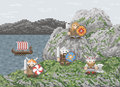 Vikings landed illustration in pixel art style Royalty Free Stock Photography