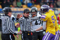 Vikings vs panthers vienna austria march wr laurinho walch has discussion with referee bojan savicevic during the afl football Stock Photo