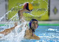 Viktor rasovic of serbia in action during a world league match against spain in barceloneta swimming pool march in barcelona spain Stock Images