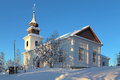 Vilhelmina Church in winter, Sweden Stock Photos