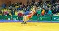 Viljandi estonia february unidentified wrestlers during estonian freestyle wrestling tournament on mat Stock Image