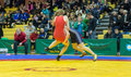 Viljandi estonia february unidentified wrestlers during estonian freestyle wrestling tournament on mat Stock Photos