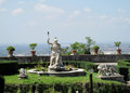 Villa d'Este garden with fountains and antique statues Royalty Free Stock Photo
