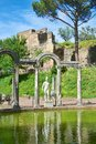 Villa di adriano canopo pool view of ruins in tivoli italy Royalty Free Stock Photography