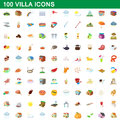 100 villa icons set, cartoon style