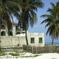 Villa old tropical made of stone blocks Stock Photo