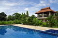 Villa by the pool beautiful tropical resort Royalty Free Stock Photography