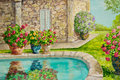 Villa with potted flowers a stone s patio is decorated large planters of and bushes in a watercolor painting Stock Image