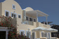 Villa on santorini island in the cyclades greece Stock Photo