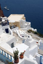 Villa and sea on santorini island with yard Royalty Free Stock Images