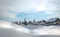 Village in alps small town after the snow blizzard on sunny day after the blizzard Royalty Free Stock Photos