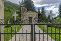 The village in the alps a small village cemetery lombardy adamello region brescia northern italy Royalty Free Stock Photo