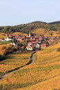 Village alsacien dans le vignoble Photos stock