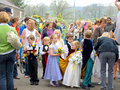 Village carnival ashover derbyshire young children preparing for the procession at the of england uk Stock Images