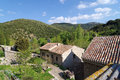 Village in cathar mountains therme Stock Photo