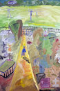 Village cemetery the kingdom of heaven for all those we love concept naive handmade kids oil art painting Stock Images