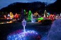Village in colorful Christmas lights Royalty Free Stock Photo
