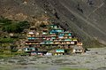 Village with colorful houses on mountainside Kaghan Valley Pakistan Royalty Free Stock Photo