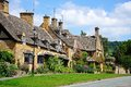 Village cottages broadway pretty along high street in cotswolds worcestershire england uk western europe Stock Image