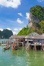 Village de pêcheur de Panyee de KOH sur la baie de Phang Nga Photo stock