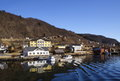 Village on a fjord in norway view of part of peaceful located hordaland county Stock Photography