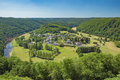 The village of Frahan surrounded by the meander of the Semois Royalty Free Stock Photo